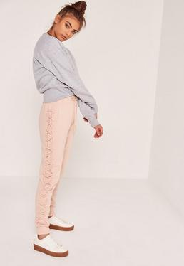 Petite Nude Lace Up Side Joggers
