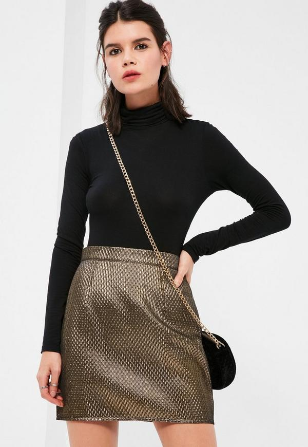 Petite Exclusive Gold Textured Metallic Mini Skirt