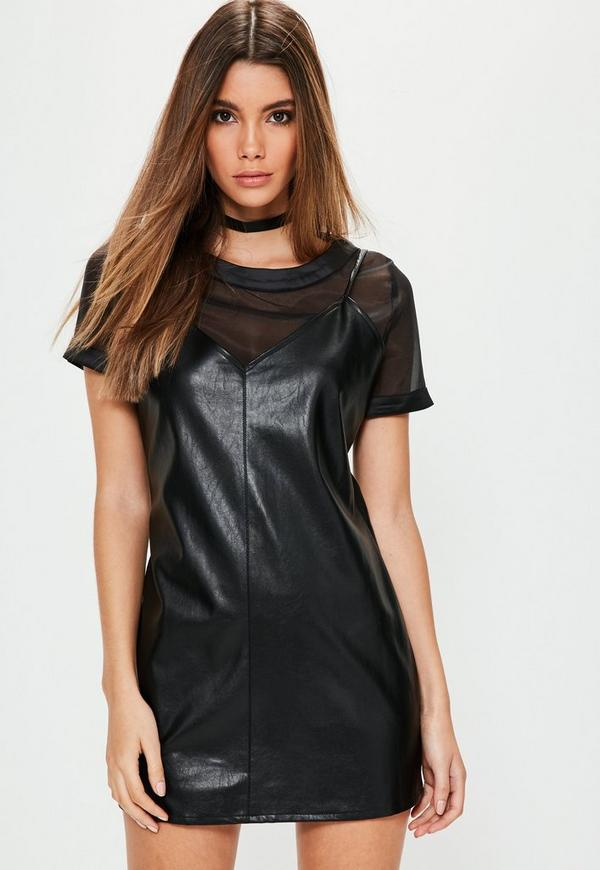 Petite Black Faux Leather Cami Overlay Dress