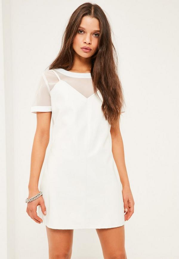 Petite White Faux Leather Cami Overlay Dress