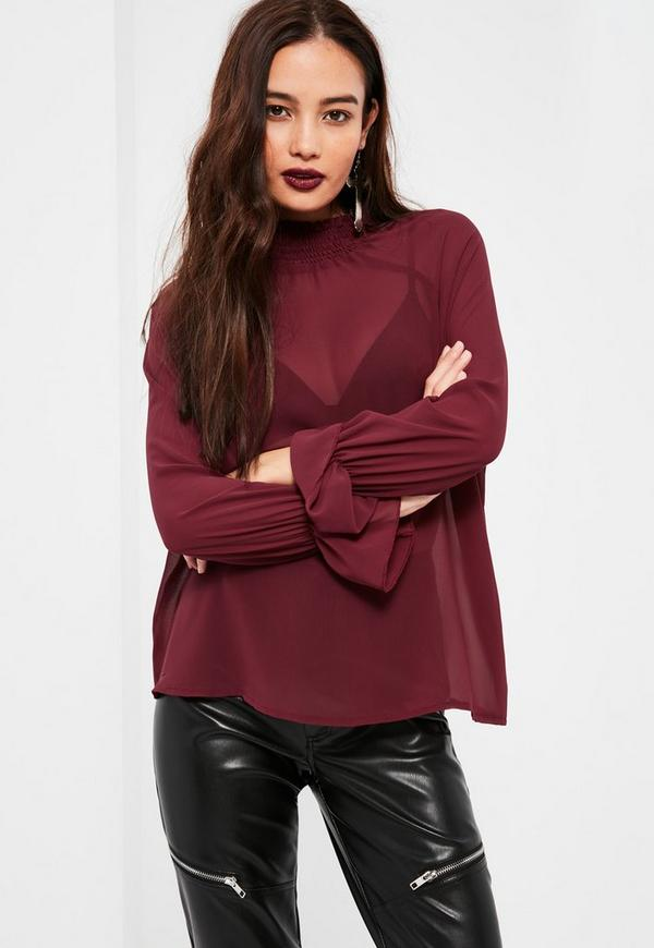 Petite Exclusive Plum Sheer Blouse Missguided