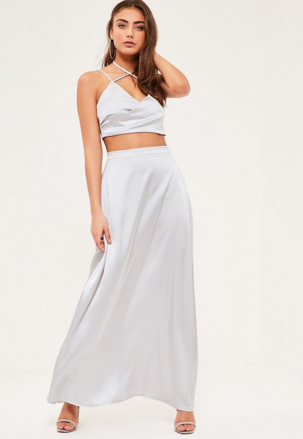 Petite Exclusive Grey Satin Maxi Skirt