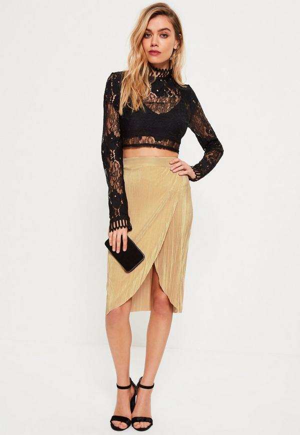Petite Gold Exclusive Pleated Wrap Midi Skirt