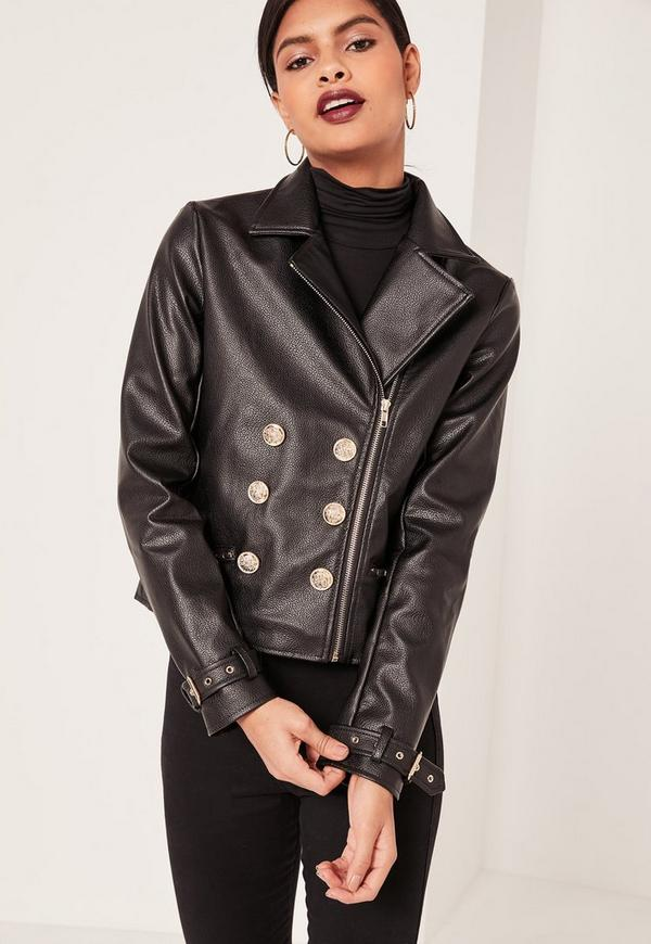 Petite Black Faux Leather Military Jacket | Missguided Ireland
