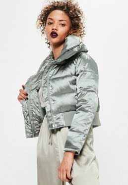 petite silver satin short puffa jacket
