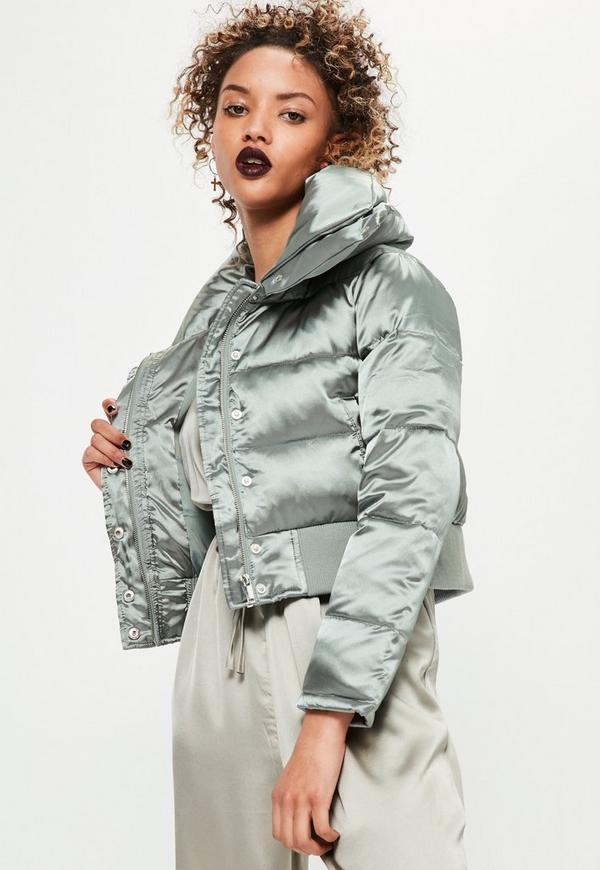 petite silver satin short puffa jacket