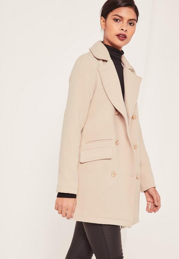 Petite Grey Short Faux Wool Military Coat