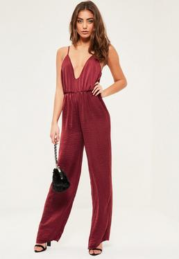Petite Exclusive Burgundy Hammered Satin Jumpsuit