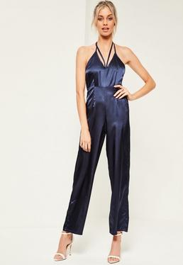 Petite Exclusive Neckholder Satin Jumpsuit mit Träger-Dekolletee in blauem Navy