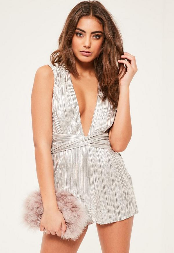 Petite Silver Pleated Playsuit