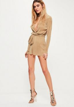 Petite Gold Pleated Choker Neck Belted Playsuit