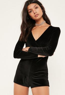 Petite Exclusive Black Glitter Velvet Playsuit