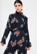 Petite Exclusive Navy Floral Print Frill Blouse