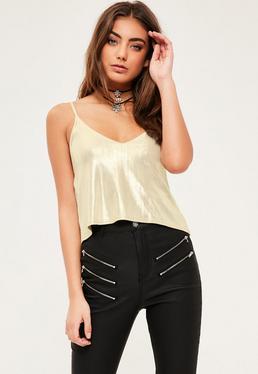 Petite Exclusive Gold Metallic Cami Top