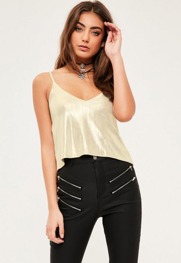 Petite Gold Metallic Cami Top