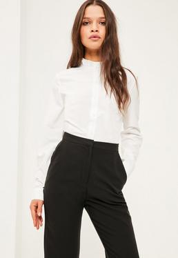Petite Exclusive White Ruffle Neck Shirt