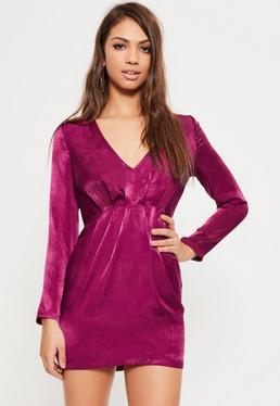 Petite Exclusive Pink Satin V-Neck Mini Dress