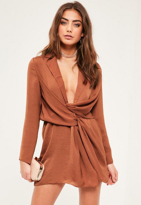 Petite Brown Satin Wrap Plunge Neck Dress