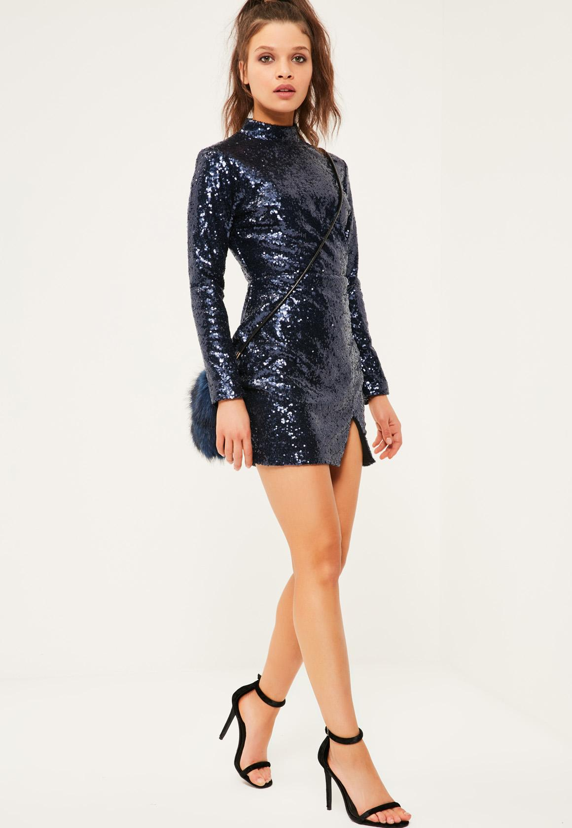 Petite Navy Sequin Mini Dress | Missguided