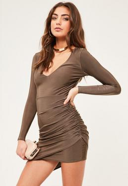 Petite Exclusive Brown Asymmetric Slinky Dress