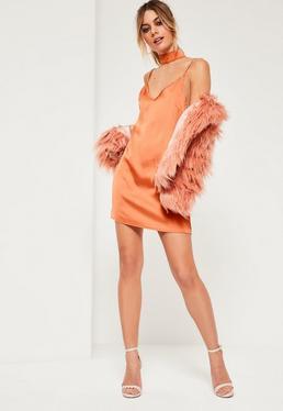 Petite Exclusive Orange Choker Neck Satin Cami Dress