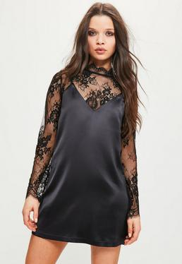 Petite Exclusive Lace Cami Overlay Satin Dress