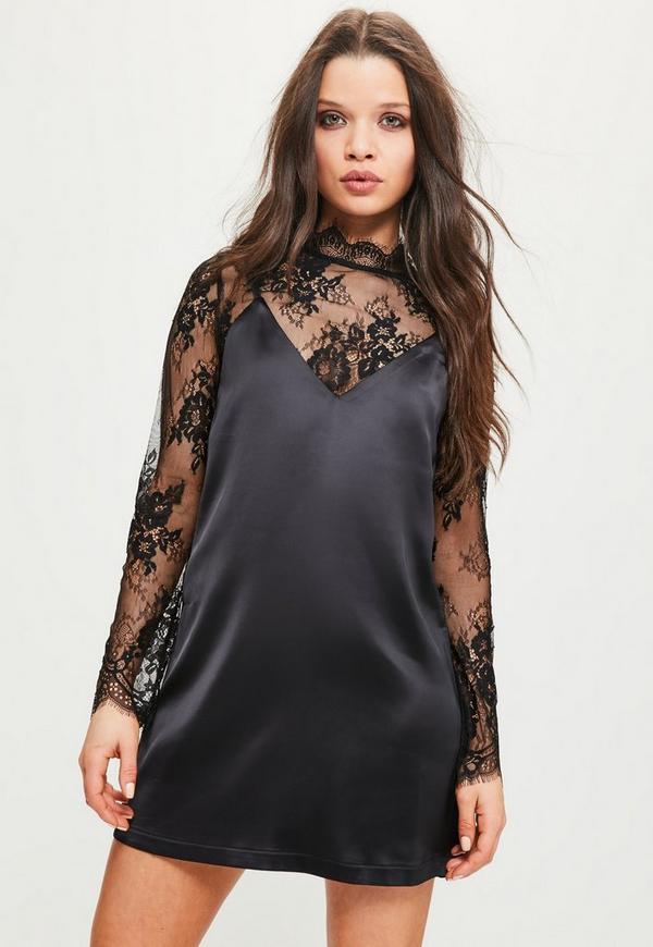 Petite Lace Cami Overlay Satin Dress