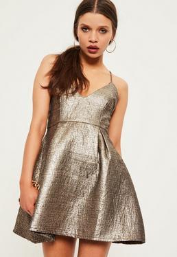 Petite Exclusive Gold Brocade Skater Dress