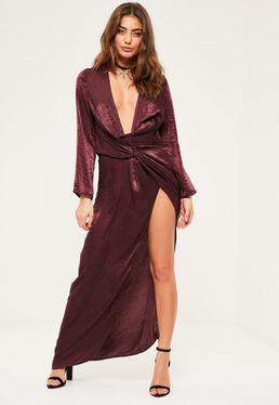 Petite Exclusive Mauve Satin Wrap Maxi Dress