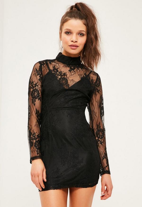 Petite Black Lace High Neck Dress