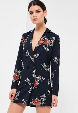 Petite Exclusive Navy Floral Print Tuxedo Dress