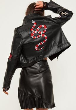 Veste biker en simili cuir noir Petite avec motifs