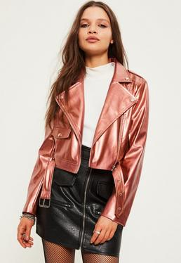 Petite Exclusive Rose Gold Faux Leather Biker Jacket