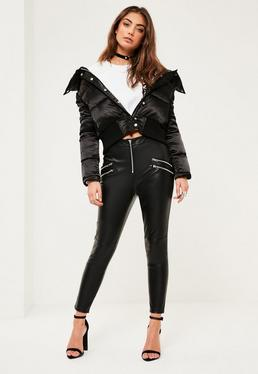 Petite Exclusive Black Faux Leather Zip Detail Pants