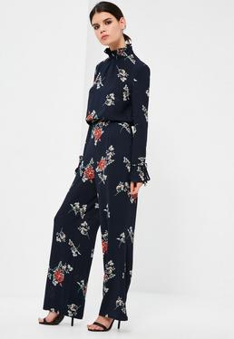 Petite Exclusive Navy Floral Print Wide Leg Trousers