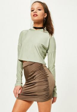 Petite Brown Ruched Side Slinky Mini Skirt