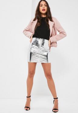 Petite Exclusive Silver Metallic Faux Leather Mini Skirt