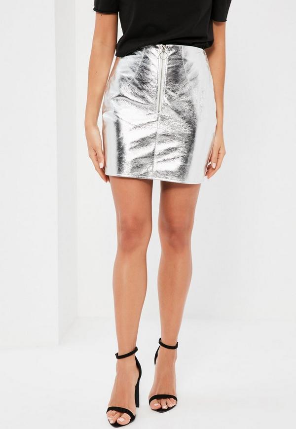 exclusive silver metallic faux leather mini skirt