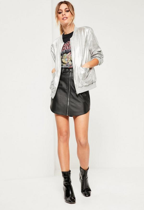Petite Exclusive Black Faux Leather Curve Hem Mini Skirt