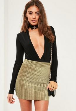 Petite Exclusive Khaki Velvet Pleated Mini Skirt