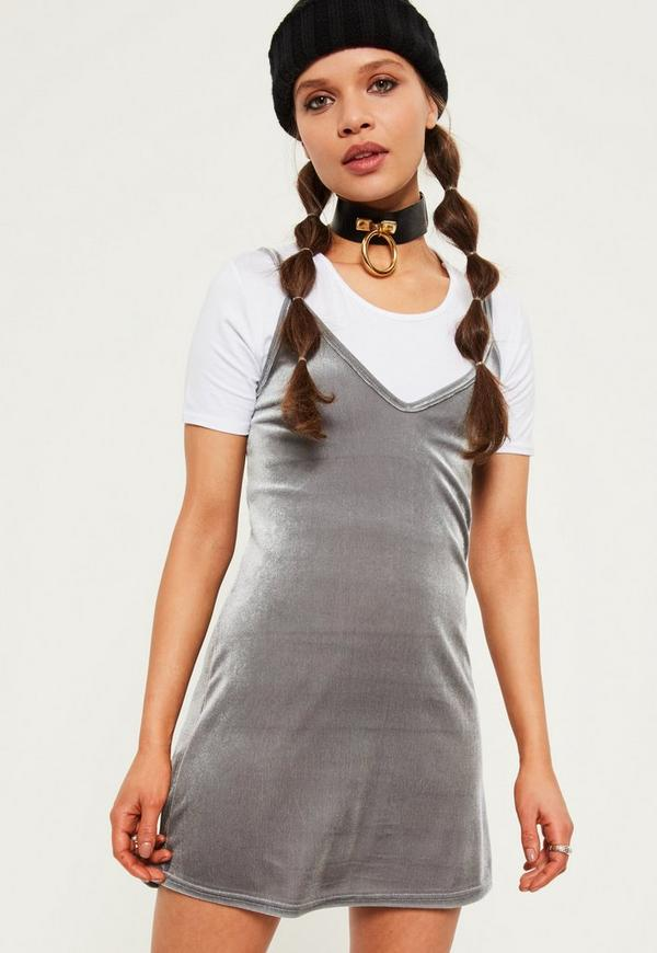 Petite Exclusive Grey Velvet 2-in-1 Cami Dress