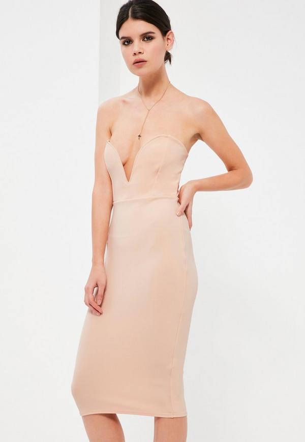 Petite Nude Scuba Plunge Bandeau Midi Dress