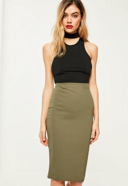 Petite Khaki Scuba Midi Skirt