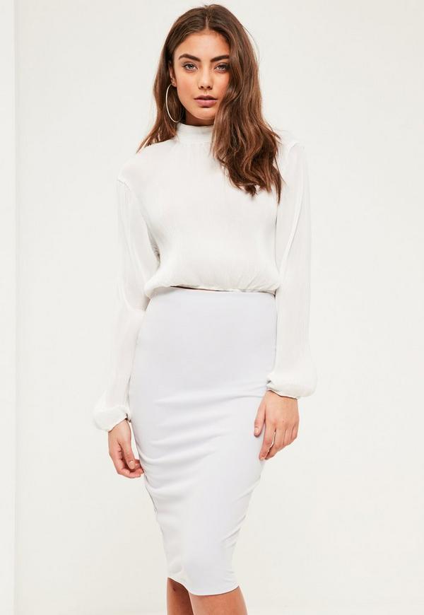 Petite Silver Scuba Midi Skirt