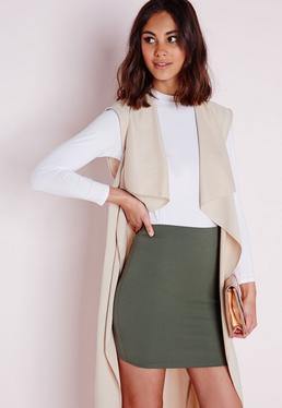 Petite Khaki Scuba Mini Skirt