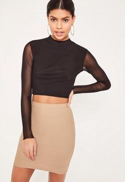Petite Brown Bandage Mini Skirt
