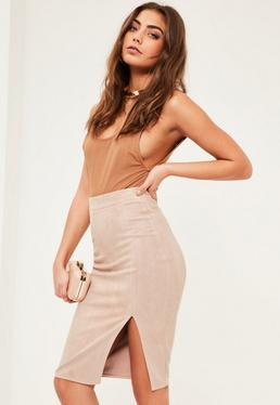 Petite Nude Faux Suede Midi Skirt