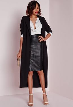 Petite Black Faux Leather Midi Skirt