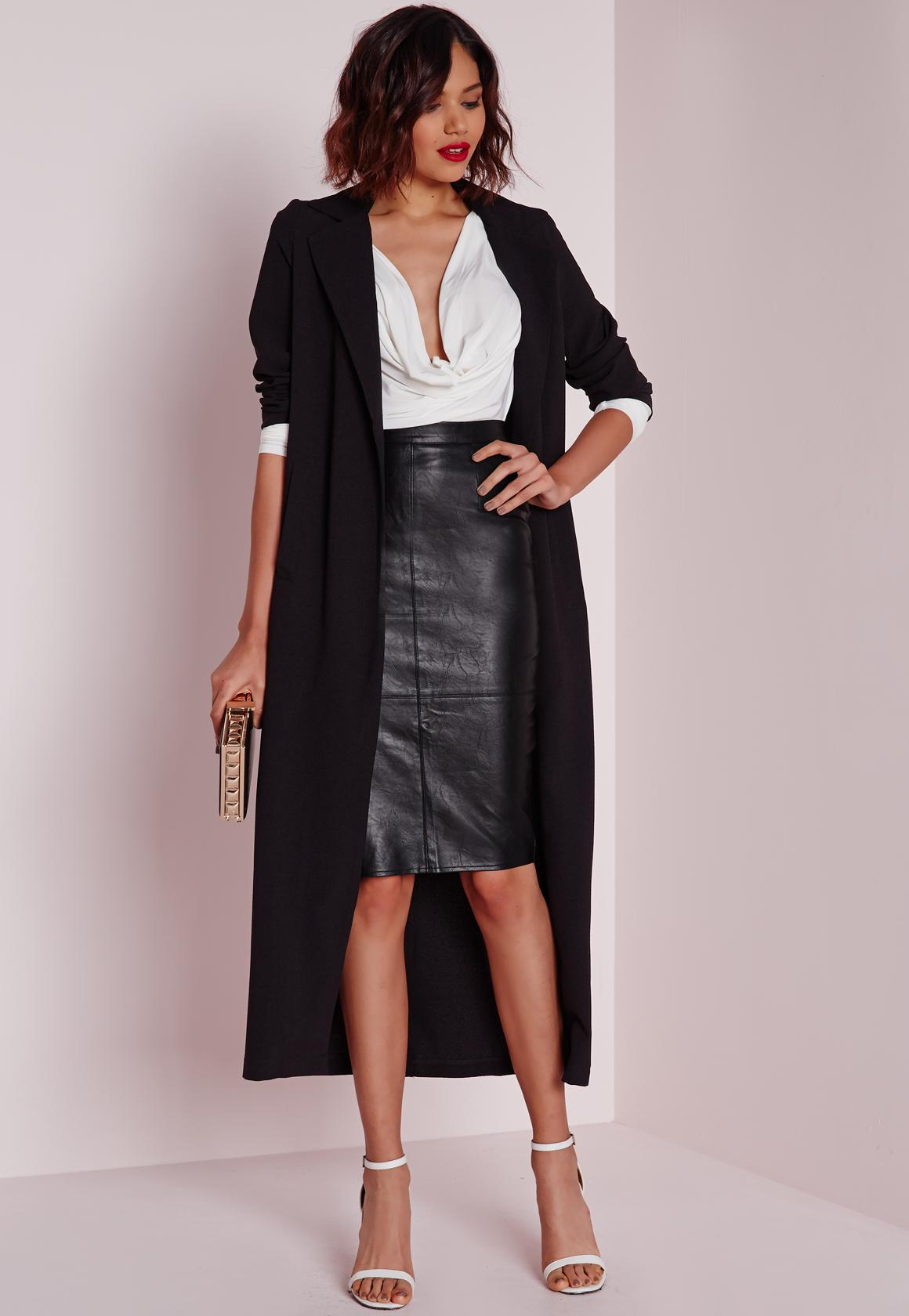 Petite Black Faux Leather Midi Skirt | Missguided