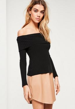 Petite Exclusive Black Bardot Ribbed Top